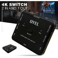 KVM Switch 2 Port HDMI USB Support Sharing Printer dan Harddisk