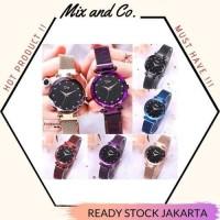 Jam Tangan Wanita Murah Premium Rantai Strap Magnet Plat Glitter - silver