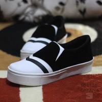 DISKON!!! Sepatu Wanita Kets Slip On SDS136 - Hitam, 38 HOT SALE
