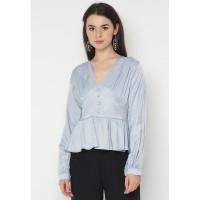 Mineola MNL V Neck Buttons Front Blouse Grey