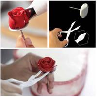 Set paku dan gunting mawar alat dekorasi kue nail flower butter cream