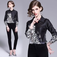 Baju Atasan Blouse Korea Black Snow Leopard sz M Import