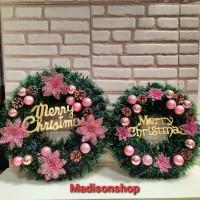Christmas Krans Kecil 35 Cm Dekorasi Hiasan Pintu Daun Lingkar Natal