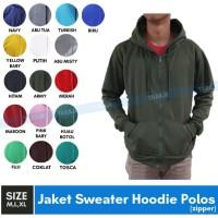 Jaket Sweater Polos Hoodie Zipper/Resleting - Hijau Army