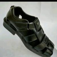 sepatu sandal selop pantofel pantopel fantofel pria kulit sapi asli - Hitam, 39