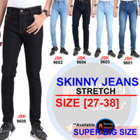 [SIZE 27-34] Celana Panjang Skinny Jeans Pria Pensil Jeans Cowok JSK - Biru, 28