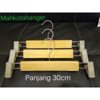 Hanger Kayu Jepit Natural (30cm) | Gantungan celana kayu jepit natural