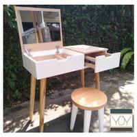 Meja Rias Modern Minimalis Putih Kayu Scandinavian Cermin Dalam