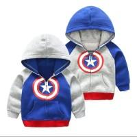 jaket hoodie sweater anak bahan tebal termurah - Biru, S