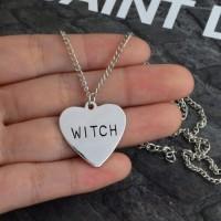 Kalung Wanita Liontin Desain Hati+Tulisan 'Witch' U Halloween/Hadiah
