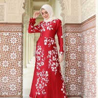 Maxi Dress/Gamis prisket maxmara premium Safa ( Maroon )