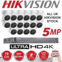 PAKET CCTV HIKVISION 16CH ULTRA HD 5MP + HDD 6TB NON KABEL