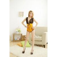 L-1563 - Lingerie Black Yellow Night Dress