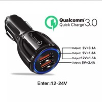 Charger Mobil QC 3.0 2 USB Fast Charging 6A 30W Android iPhone iPad