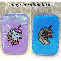 Tempat Pensil Sequin Unicorn / Pencil Case Sequin Unicorn - Ungu