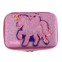 Tempat case kotak pensil model SMIGGLE UNICORN KACA GLITTER - Merah Muda