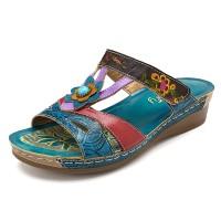 Terlaris SOCOFY Sandal Wanita Kulit Asli Handmade Velcro
