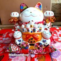 Celengan Kucing Maneki Neko XL Daruma Japan Kado Patung Keramik Hoki