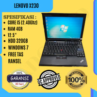 LAPTOP BEKAS BERGARANSI LENOVO THINKPAD X230 CORE i5 320/4GB MURAH