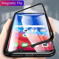Magnetic Case Oppo F7 / F9 / F11 / F11 Pro Luxury Leather Magnetik