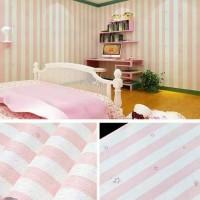 wallpaper sticker motif salur bintang pink