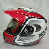 HELM KYT ENDURO R1 WHITE BLUE SUPER MOTO
