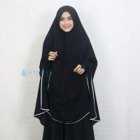 Set Khimar Syari Handsplit Pet Cadar Tali Bisban Jetblack Edition