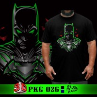 Baju Big Size Kaos Batman New Glow in the dark Tshirt Jumbo XXXL Pria - Biru, XL