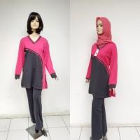 Stelan Baju Senam Muslim DN1119 - Merah Muda, M