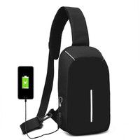FREEKNIGHT Tas Selempang Anti Maling Anti Air Sling Bag USB TCS01
