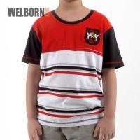 Welborn Kids Kaos Oblong Merah Putih Garis Anak Laki