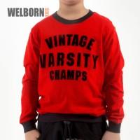 Welborn Kids Sweater Red Vintage Varsity Anak Laki