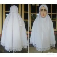 Jilbab ihram kerudung bergo putih katun bordir Umroh dan haji