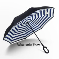 Payung Terbalik Motif Blue Stripe Gagang C / Reverse Umbrella Handle C