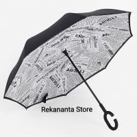 Payung Terbalik White Newspaper Gagang C / Reverse Umbrella Handle C