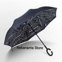 Payung Terbalik Black Newspaper Gagang C / Reverse Umbrella Handle C
