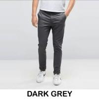 Celana Chino Dark Grey/ celana kerja pria/ chino abu-abu panjang