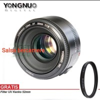 Lensa Yongnuo YN 50mm F1.8 For Canon Lensa Fix Free UV