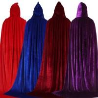 AUS Jubah Hoodie Panjang Bahan Velvet untuk Kostum Halloween / Natal