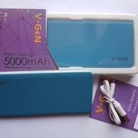 Power bank V-gen V502 5000 MAH biru slim real capacity garansi 1