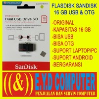 FLASHDISK 16GB SANDISK ULTRA DUAL OTG DAN USB DRIVE 3.0 FLASH DRI