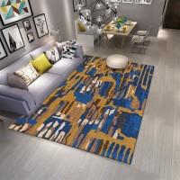 Karpet Handtuft Premium Wool Mewah Modern D006 Blue 160x230 cm