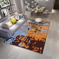 Karpet Handtuft Premium Wool Mewah Modern D012 BlueOrange 160x230 cm