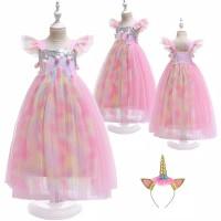 Dress unicorn rainbow sequin import dress tutu pesta panjang anak - Dress Saja