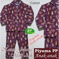 Piyama PP Anak Karakter Teddy Bear - Baju Tidur Lengan Panjang - Katun