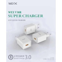 WEX V30R Super Charger 3A Quick Charge 3.0 Smart Fast Charging 18W