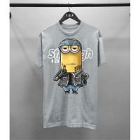 T-shirt Minion / Baju Kaos Distro Pria Minion Abu2 Pendek Slimfit