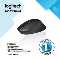 Mouse Wireless Logitech M331 - Silent Plus Mouse Garansi Resmi 1 Tahun - Biru