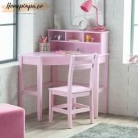 Meja Belajar Sudut Anak Perempuan Kayu Mahoni Finishing Duco Pink