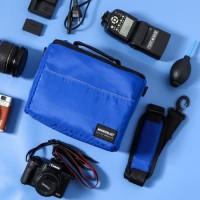 Wanderlust Kompartemen Mirrorless DSLR Tas Kamera Selempang Blue
